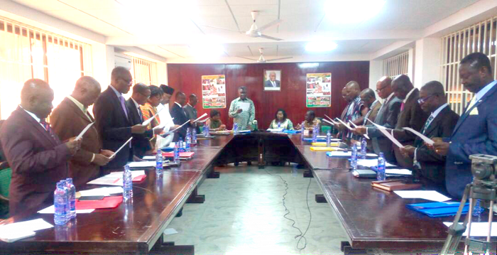 Prof. Kwabena Frimpong Boateng administering the oath of office to the Council members