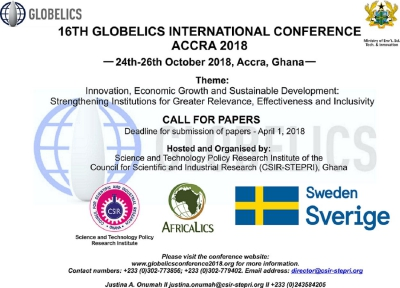 16Th Globelics International Conference Accra 2018