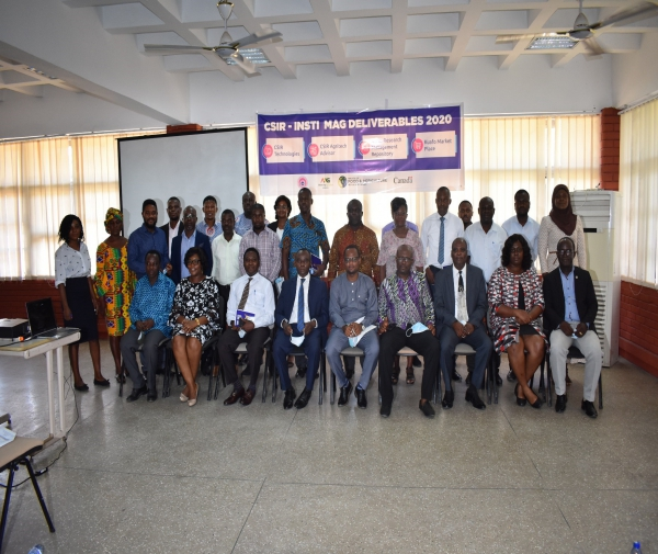 The stakeholders in a group photograph with Professor Victor Kwame Agyeman, Director-General of CSIR (4th left), Professor Paul Bosu, Deputy Director-General, CSIR (3rd left),  and Dr Seth Manteaw (3rd right), Director of CSIR-INSTI.