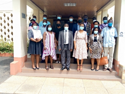 Participants at the workshop with the Deputy Director-General, Professor Paul Bosu (arrowed)